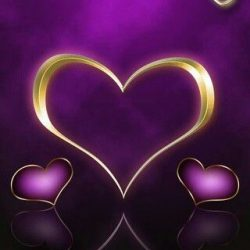 Gold Hearts on Purple Wallpaper. +100 Iphone