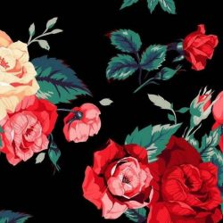 Mobile hand-painted wallpaper illustrator Rose Floral watercolor gouache +100 Iphone