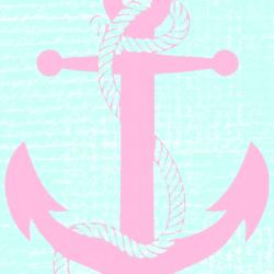 Pastel mint aqua pink anchor iphone phone wallpaper background lock screen +100 Iphone
