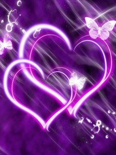 Purple Glow Hearts +100 Iphone