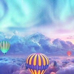 Hot air balloon in Alps Sky Aurora iPhone Wallpaper | +100 Iphone
