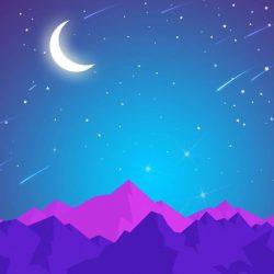 Night Mountains Moon Shining Stars iPhone Wallpaper | +100 Iphone