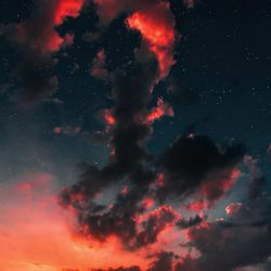 Sunset Clouds Space Stars iPhone Wallpaper | +100 Iphone